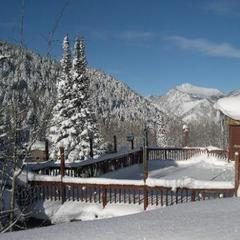 Overlooking the snowy mountains at Silver Fork Lodge & Restaurant in Big Cottonwood Canyon