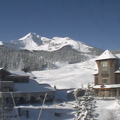 Snow covered Big Sky by mid-November. Photo courtesy of Big Sky's webcam.