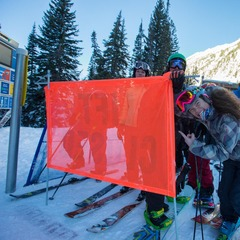 Big mountain skier and Warren Miller athlete Rachael Burks snagged first chair at Snowbird on opening day - ©Mike Schirf Photography