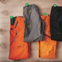 Men's Pants: 1) Marmot Rosco Bib; 2) Dakine Clutch Pants; 3) Helly Hansen Verglas Randonee Pant; 4) Outdoor Research Blackpowder Pants; 5) Obermeyer Yukon Pant