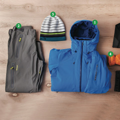 Men's Outfit #1: 1) Helly Hansen Enigma Jacket; 2) Dakine Clutch Pants; 3) Oakley Unification Baselayer (Top and Bottom); 4) Helly Hanson Odin Insulator Glove; 5) Oakley Snowmad Deepie