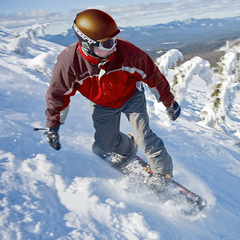 A snowboarder rides Hoodoo. Photo courtesy of Hoodoo Ski Area.