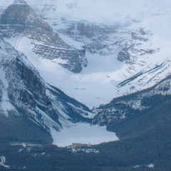 From Lake Louise Ski Area, the view leaps across valley to Chateau Lake Louise. Photo by Becky Lomax. - ©Becky Lomax