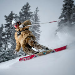 Carving skier at Anthony Lakes. Photo by Paul Clark/Black and Red Photography.