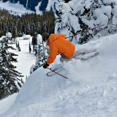 A skier descends a run from Crystal Chair at Sun Peaks. Photo by Paul Morrison, courtesy of Tourism Sun Peaks.