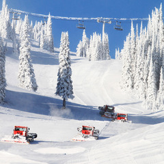 A fleet of groomers lay down corduroy at Silver Star. Photo courtesy of Silver Star Mountain Resort.