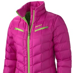 Marmot Safire - The Safire doubles as an insulating layer for under a shell or as a stand-alone jacket for the aprs-ski scene. With diamond-angled baffling and a shirt-like collar, the 650 fill down jacket has a recycled polyester shell and weighs in at 
