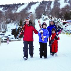 Get the family out to learn to ski or snowboard cheap during January. Photo Courtesy of Camelback Mountain Resort.