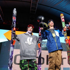 The Men's Ski Superpipe Podium, from left: Torin Yater-Wallace, David Wise, Simon Dumont.