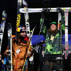 The Skier Big Air podium Saturday night.