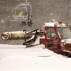 A Wolf Creek snowcat during the storm.