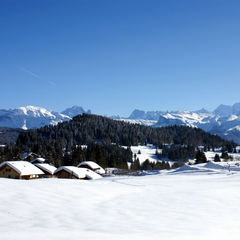 View on the Mont-Blanc and Praz de Lys