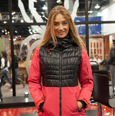 Pro skier Sierra Quitiquit modeling the Moxie jacket from Spyder.