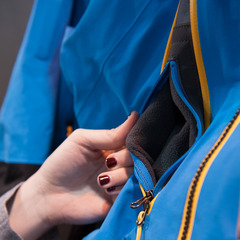 The internal fleece-lined cell phone pocket within a pocket on the Free Thinker jacket from The North Face. - ©Ashleigh Miller Photography