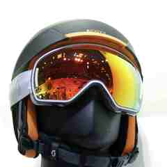 helmet and goggles at Scott stand at ISPO Munich 2013