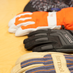 The collection of Marmot Armageddon gloves have Polartec® Alpha as well as Marmot driClimb lining. The leather is washable and has reinforced foam padding.  - ©Ashleigh Miller Photography