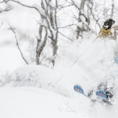 Caroline Lalive explodes through deep snow in Steamboat's Burgess Creek area.