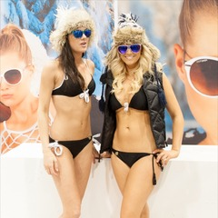 It was hard to avert your eyes from the Dot Dash sunglass booth.
