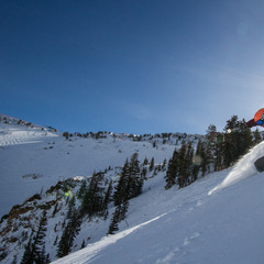 Former Olympian Erik Schlopy puts one of the many powder skis he tested through the paces. - ©Liam Doran
