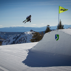 Chris Verrve sending it on one of the five jumps in the Gold Coast Terrain Park at Squaw.