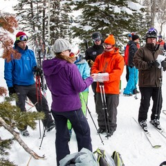 Ski Test Director Krista Crabtree goes through the motions for