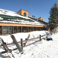 Panorama of Michigan's Bittersweet Ski area base.