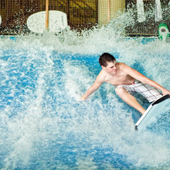 Rip Zone surf simulator at Avalanche Bay Indoor Waterpark at Boyne Mountain Resort.