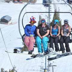 Break out the tank tops for late season skiing at Mammoth Mountain.