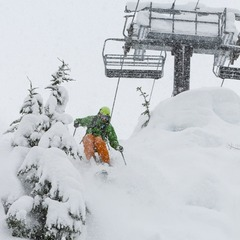 Zack Giffin taking the technical line below the chairlift at Mt. Baker.