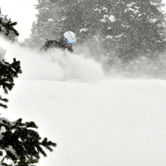 Eric Rasmussen hits a stash on Peak 9 at Breck.