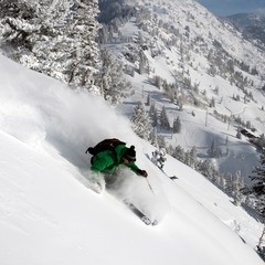 Tyler Sterling at Alta, Utah. On one of the Emma's, right across the street from the ski area. A consistent pitch of south facing powder.
