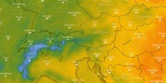 Aktuální animovaná mapa s předpovědí počasí na nejbližší dny ©repro z windy.com