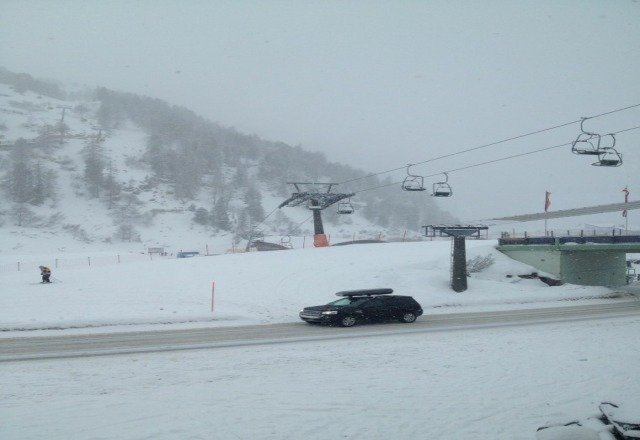 it's been snowing, but its not too cold, conditions will be better tomorrow