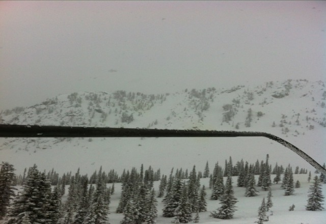 crazy amount of snow! powder up to your knees. still snowing.