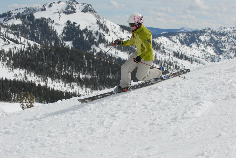This skier enjoys a run at Sugar Bowl Ski Resort, California