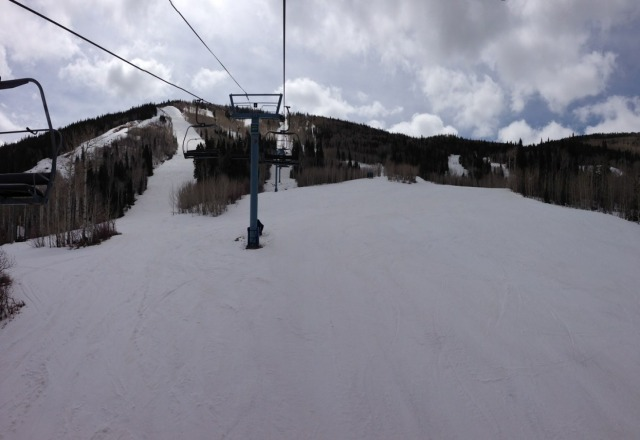 "what a great day at the 'horn 4/21 74"" base spring skiing in CO what else could you ask for!!!"