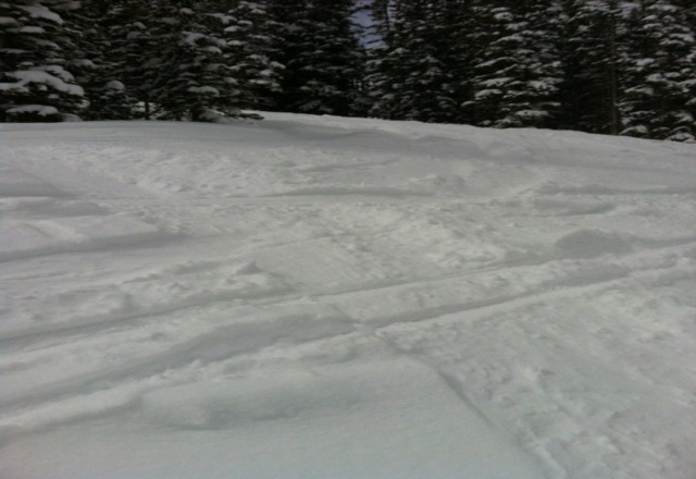 great conditions for 4/11. fresh tracks everwhere cause NOBODY there!