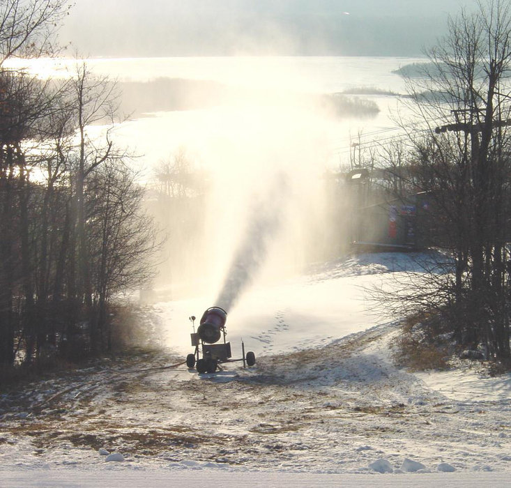 A snowgun shoots new snow at Spirit Mountain, Minnesota