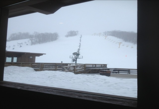 awesome day. feels like mid winter and more snow falling. best place in michigan.