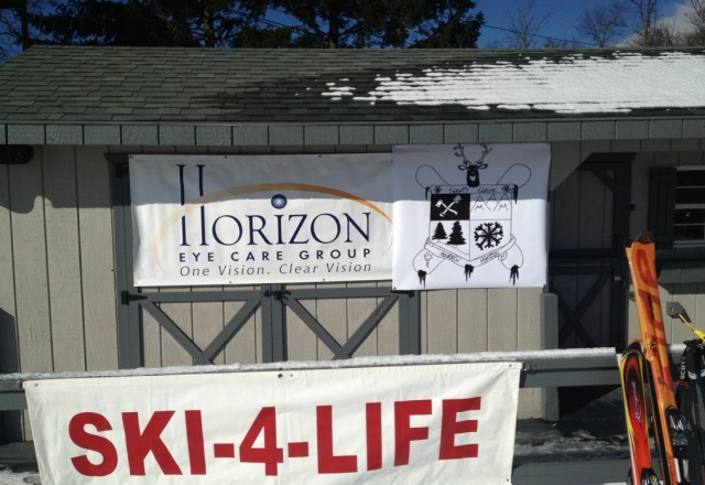 ski for life going strong today at Roundtop !  Check out the mountain masters banner at Minuteman lift!