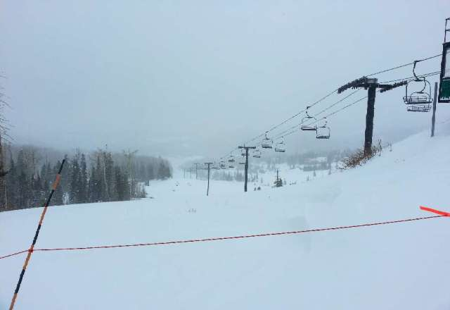 Slopes are empty, blowing snow, and a few inches of freshies to tease us with. tomorrow should be excellent!