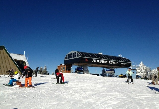 Bluebird day at Mount Snow, no lines great conditions..