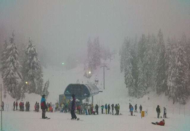 lots of snow falling. low visibility but excellent for boarding and snowshoeing. must have 4*4.