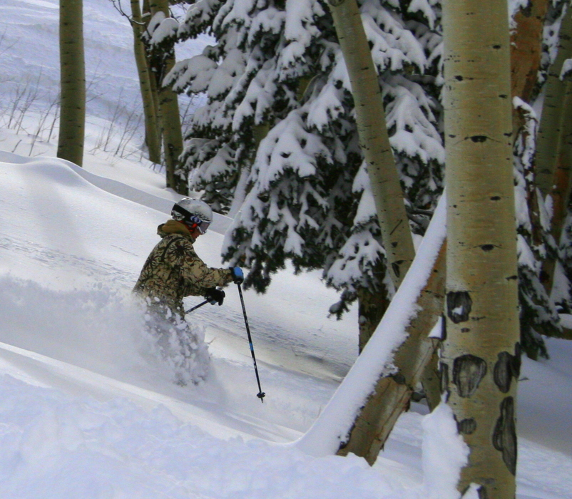 Powder skiing in Big Powderhorn Mountain, Michigan