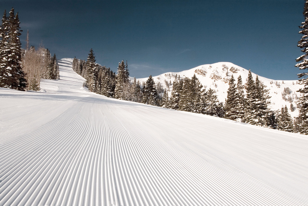 A view of a groomed slope at Park City Mountain Resort, Utah
