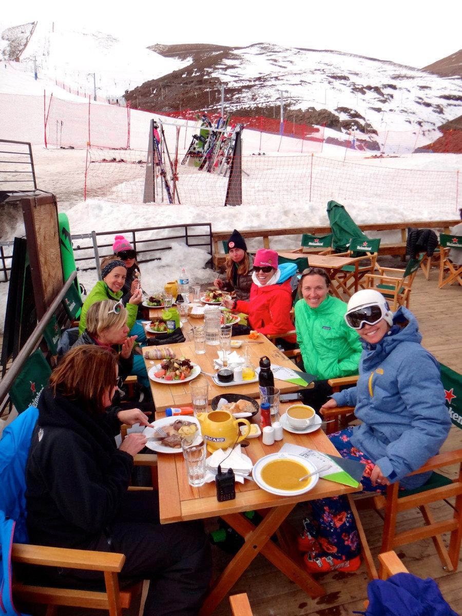 Enjoying some apres-ski with Ingrid Backstrom at La Parva's St. Tropez - © Mike Reff PowderQuest