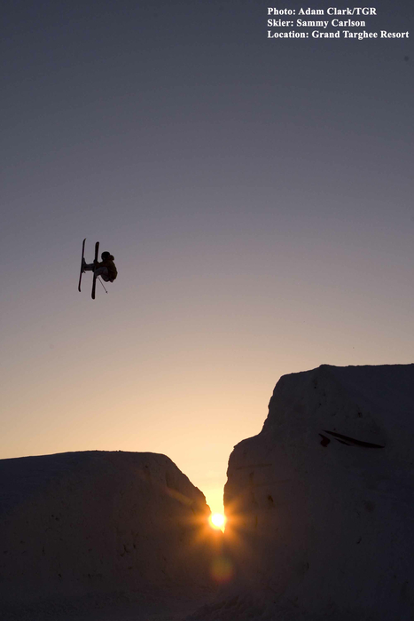 Sammy Carlson gets air in Grand Targhee, Wyoming