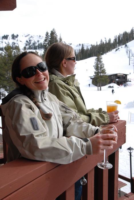 Two women take in the scenic view at Sugar Bowl Ski Resort, California