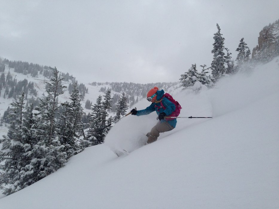 They may not be open yet, but Caroline Gleich is already skiing powder at Alta - © Eric Fabbri
