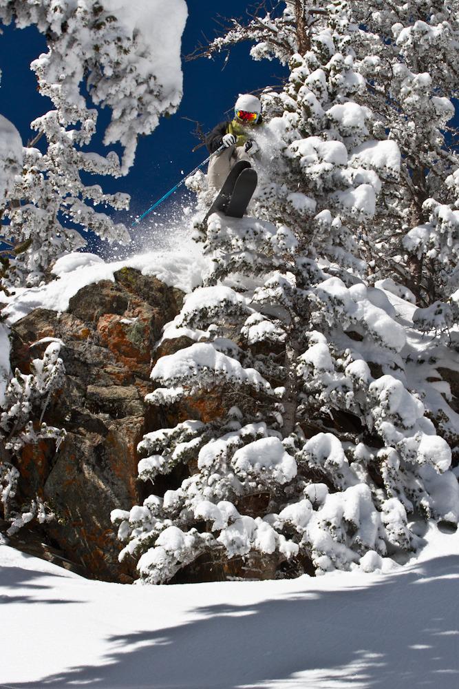 Skier Bert Flores enjoys a powder day at Taos Ski Valley. Photo by Liam Doran